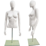 MN-246 Plastic Half Body Female Upper Torso Countertop Form with Removable Head - DisplayImporter