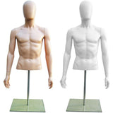 MN-247 Plastic Half Body Male Upper Torso Countertop Form with Removable Head  - DisplayImporter.com - 1