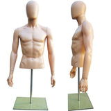 MN-247 Plastic Half Body Male Upper Torso Countertop Form with Removable Head Fleshtone - DisplayImporter.com - 2