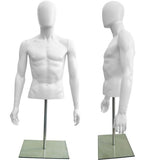 MN-247 Plastic Half Body Male Upper Torso Countertop Form with Removable Head White - DisplayImporter.com - 3