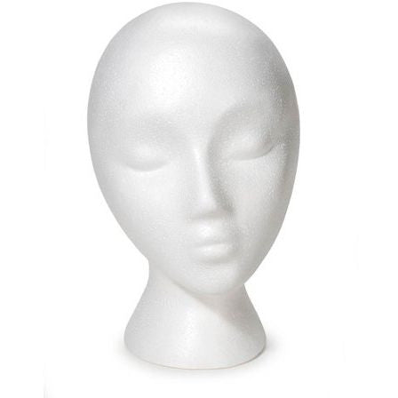 MN-324LTP Female Styrofoam Abstract Mannequin Head (LESS THAN PERFECT, FINAL SALE)  - DisplayImporter.com