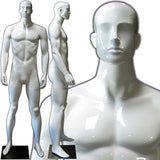 MN-333 Colorful Glossy Abstract Male Mannequin Glossy White - DisplayImporter.com - 6