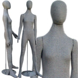 MN-402 Soft Flexible Female Body Form with Egg Head Grey - DisplayImporter.com - 2