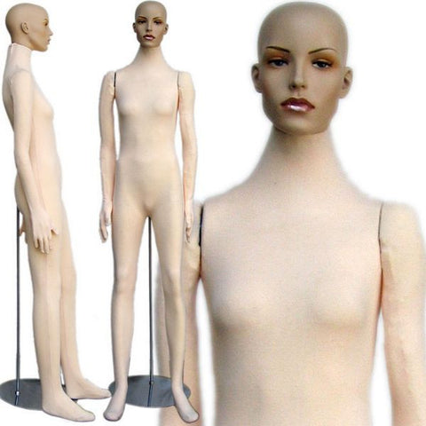 MN-404 Soft Flexible Female Body Form with Realistic Face - DisplayImporter