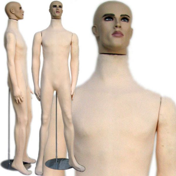 MN-406 Soft Flexible Male Body Form with Realistic Face - DisplayImporter