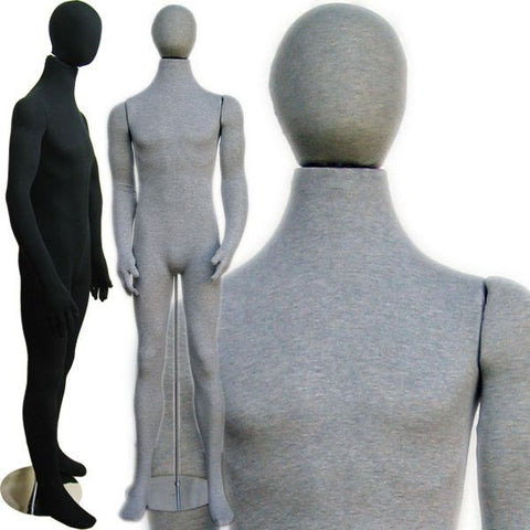 MN-407 Soft Flexible Male Body Form with Egg Head - DisplayImporter