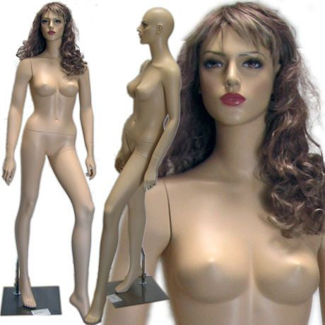 MN-416 Female Realistic Head Mannequin in Model Pose with Free Wig - DisplayImporter
