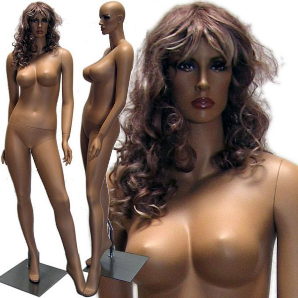 MN-429 Tanned Female Realistic Mannequin with Voluptuous Body (Jessica) with Free Wig - DisplayImporter
