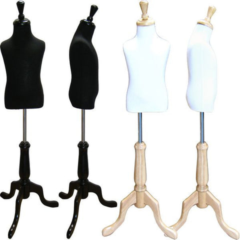MN-507 Toddler Pinnable Dress Form with Adjustable Wood Tripod Stand (Sizes 3-4 Small)  - DisplayImporter.com