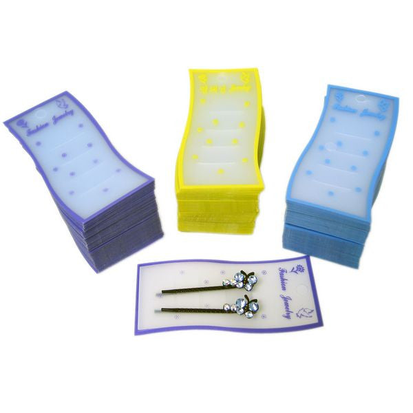 PG-012 100 pcs Colorful Plastic Jewelry Display Cards - DisplayImporter