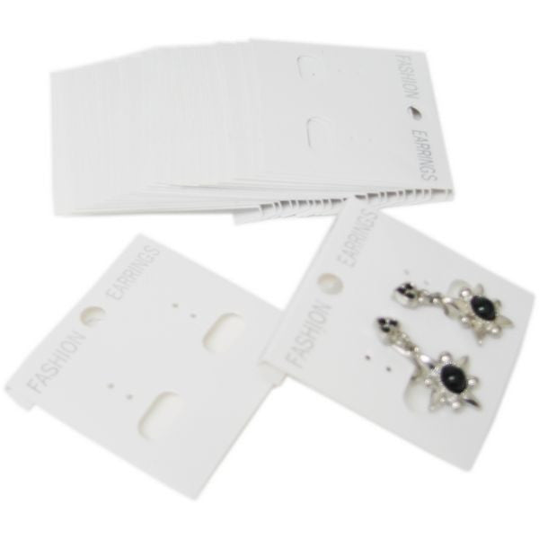 PG-016 100 pcs White Plastic Hanging Earring Cards  - DisplayImporter.com
