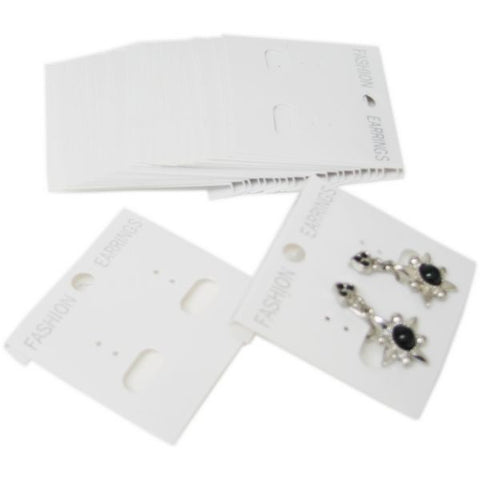 "PG-016 100 pcs White Plastic Hanging Earring Jewelry Cards 2"" x 2"" - DisplayImporter"