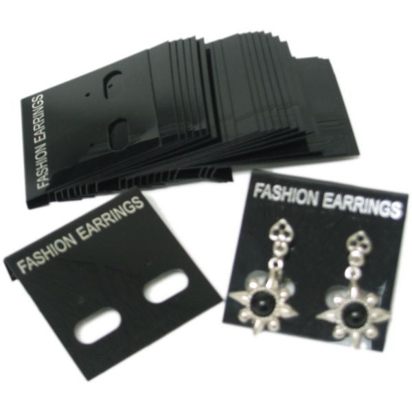 "PG-017 100 pcs Black Plastic Hanging Earring Jewelry Cards 1.6"" x 1.6"" - DisplayImporter"