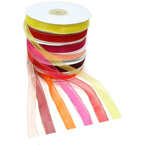 PG-033 Gold-Toned Trimmed Sheer Organza Ribbon - DisplayImporter