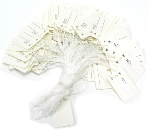 PG-045 White String Price Tags - Pack of 100 - DisplayImporter