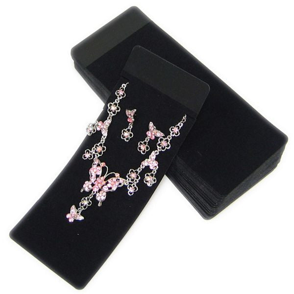 PG-065 100 pcs Black Velvet Flocked Plastic Jewelry Set Card with Poly Bags Black (No Print) - DisplayImporter.com - 1