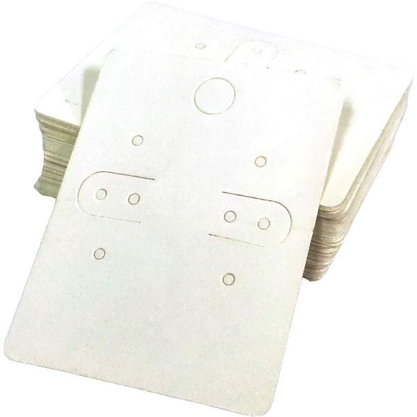 PG-073 Plain White Paper Earring Jewelry Cards With Bags - Pack of 100 - DisplayImporter