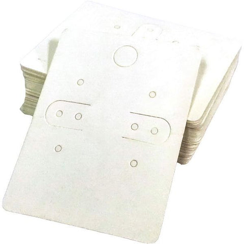 PG-073 Plain White or Floating Hearts Paper Earring Cards With Bags - Pack of 100 Plain White - DisplayImporter.com - 1