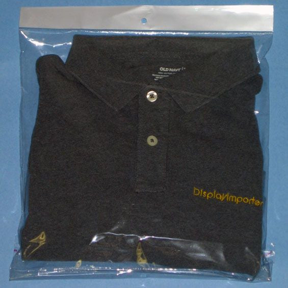 "PG-090 100 pcs Resealable Polypropylene T-Shirt Bags - 15.75"" x 11.81"" - DisplayImporter"