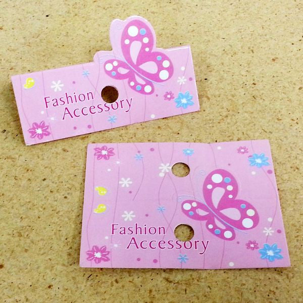 PG-101 Pink Butterfly Fashion Accessory Jewelry Hanging Tags - Pack of 100 - DisplayImporter