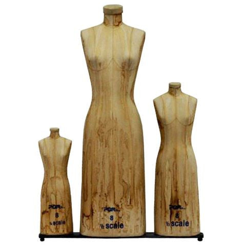 PMP-615AT Antique Style Miniature Scale Dress Form - Set of 3 - DisplayImporter