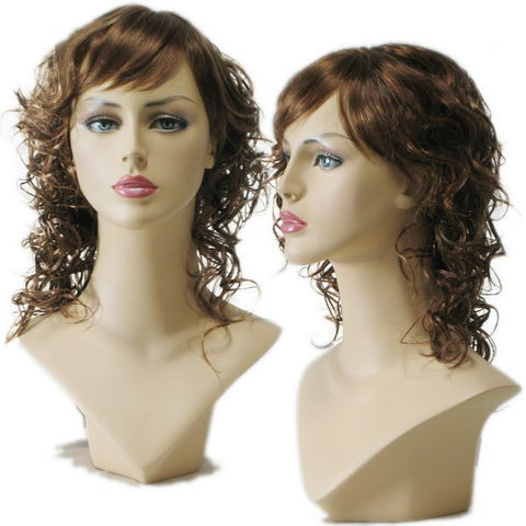 WG-028 Curly Auburn Brown Wig  - DisplayImporter.com