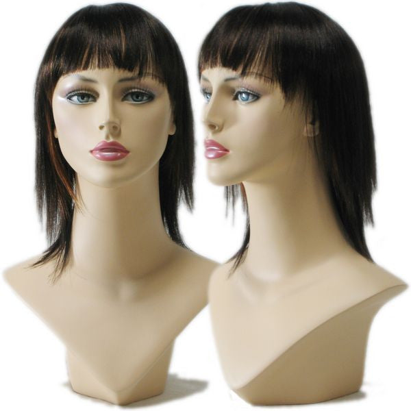 WG-030 Straight Black Wig w/ Highlights  - DisplayImporter.com