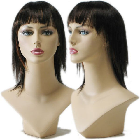 WG-030 Straight Black Female Wig with Highlights - DisplayImporter