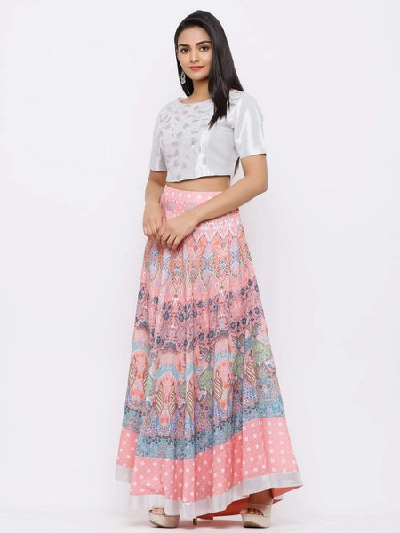 Juniper Pink Poly Muslin Embroidered Flared Lehenga Choli