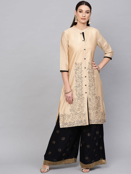 AKS Chanderi Silk Print Straight Kurti For Women
