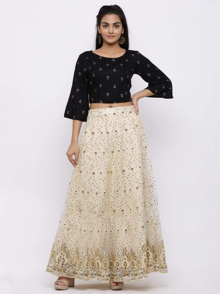 Juniper Ivory Net Embellished Flared Lehenga Choli_Black and Beige