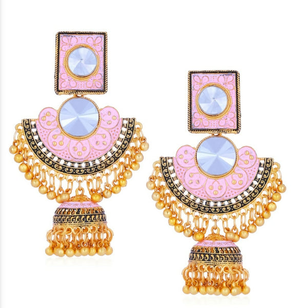 Pink Chandbali Earring