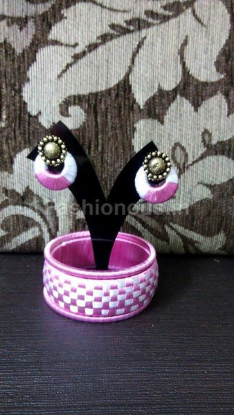 White And Pink Bangle and earrings