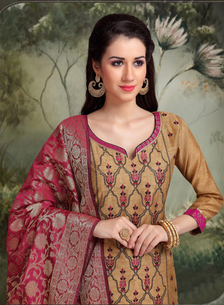 Wine and Dark Beige Banarasi Silk Salwar-BDM026