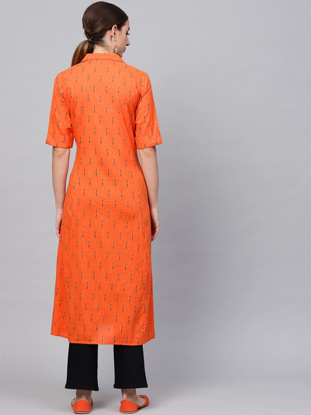 AKS Cotton Geometric Print A-Line Kurti For Women