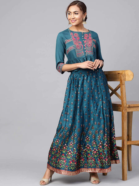 Juniper Teal Dull Satin Printed Kalidar Lehenga Choli Set