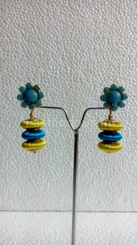 Blue and yellow jhumkas