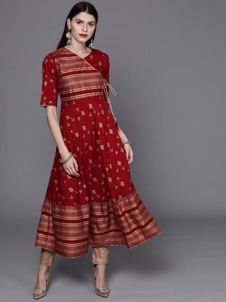 AKS Couture Cotton Geometric Print Anarkali / Umbrella Cut / Gher  For Women