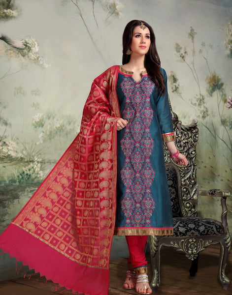 Fuschia and Turquoise Banarasi Silk Salwar-BDM025
