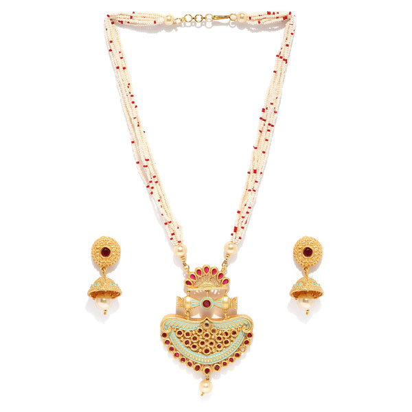 Pearl Beads Kundan Necklace Set