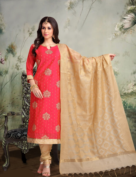 Strawberry and Gold Banarasi Silk Salwar-BDM013