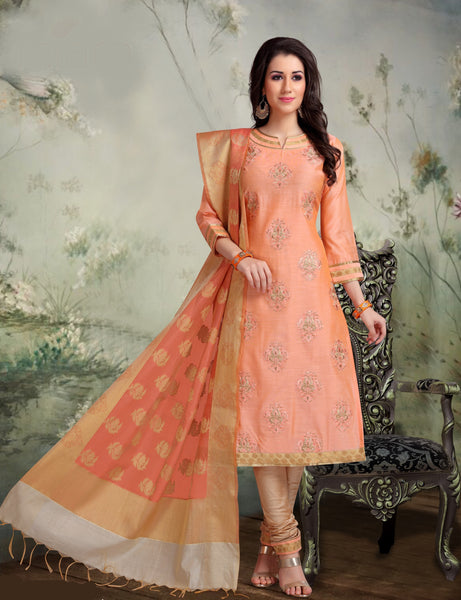 Peach and Beige Banarasi Silk Salwar-BDM015