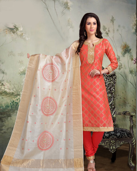 Strawberry Banarasi Tussar Silk Salwar-BDM017