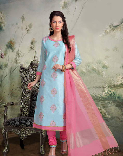 Sky Blue and Pink Banarasi Silk Salwar-BDM018
