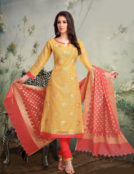 Gold and Strawberry Banarasi Silk Salwar-BDM021