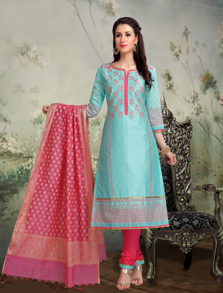 Sea Green and Pink Banarasi Silk Salwar-BDM023