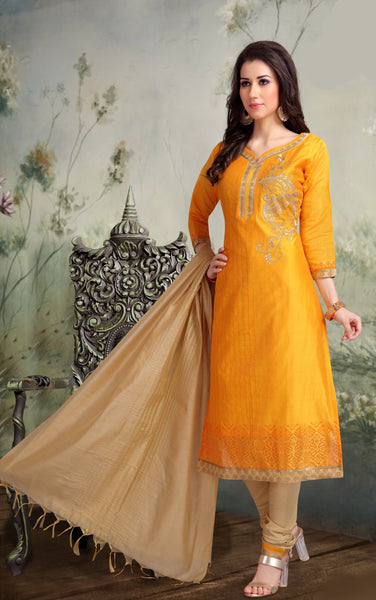Gold and Beige Banarasi Silk Salwar-BDM024