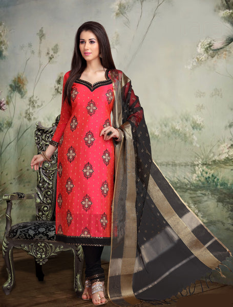 Strawberry and Black Banarasi Silk Salwar-BDM020