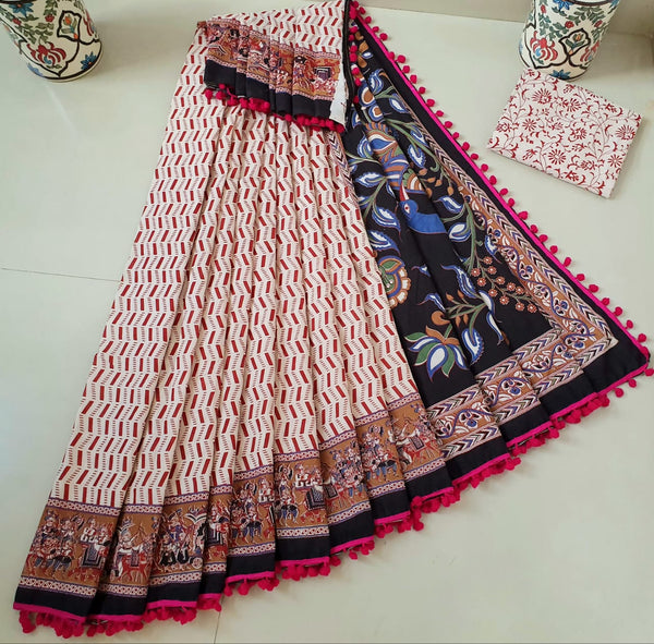 Absolute Brick Red Cotton Saree