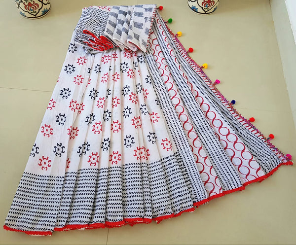 Abstract White Cotton Saree